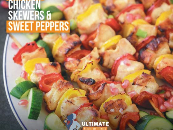 chicken skewers and sweet pepers
